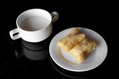 Soy milk and deep fried doughstick Stock Photos