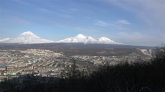 the view from the highest point in the city of Petropavlovsk-Kamchatsky and - stock footage