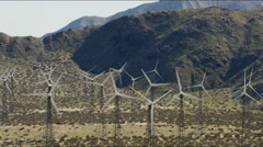 Aerial view of wind turbines in rural area Los Angeles USA Stock Footage