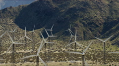 Aerial view of wind turbines at Palm Springs California Stock Footage