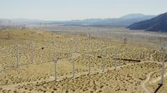 Aerial view of renewable energy wind turbines California USA Stock Footage