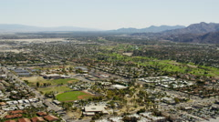 Aerial view of desert oasis city of Palm Springs California USA Stock Footage