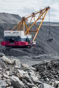 Coal mining in open pit Stock Photos