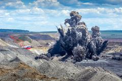 Explosure on open pit - stock photo