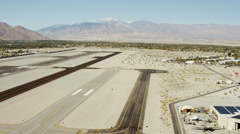 Aerial view of Palm Springs airport runway California USA Stock Footage