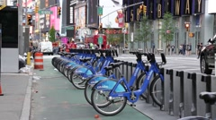 Citi Bikes in Times Square Manhattan New York Stock Video Stock Footage