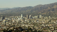 Aerial view of community of Burbank Glendale in Los Angeles USA Stock Footage