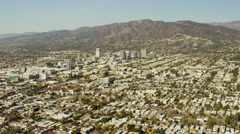Aerial cityscape view of Burbank California Stock Footage