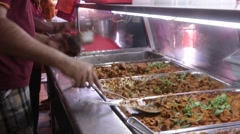 Indian Food Stall Worker in Singapore Stock Footage