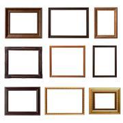 Wood frame photo set on isolated white background Stock Photos