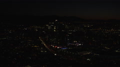 Aerial night view of illuminated buildings in downtown Los Angeles Arkistovideo