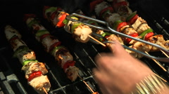 Turing kabobs on Grill Stock Footage
