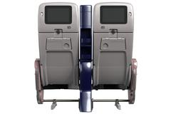 Aircraft chairs with screen, back view Stock Illustration