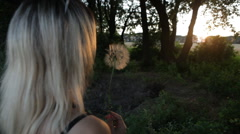 Girl blowing dandelion on the meadow at sunset Stock Footage