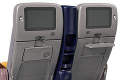 Passenger aircraft seats with screen, close view Stock Illustration