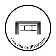 Cinema theater auditorium icon - stock illustration