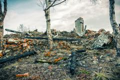 The remains of burned buildings Stock Photos