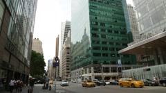 Wide Angle Street Scene in Manhattan New York City Stock Video Stock Footage