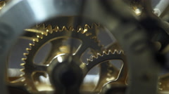 macro of the second hand gears turning in a clock 4k - stock footage