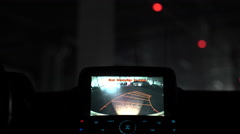 A car's backup camera in action at parking space in a mall Stock Footage