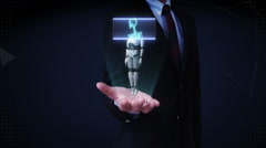 Businessman open palm, Scanning rotating 3D robot body, human bone. - stock footage