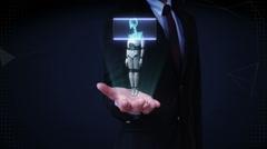 Businessman open palm, Scanning rotating 3D robot body, human bone. Stock Footage