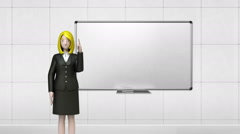 Businesswoman character gesture pointing. front whiteboard in conference room.1 Arkistovideo