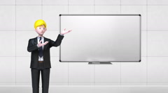Businessman character gesture pointing.front whiteboard in conference room.2 - stock footage