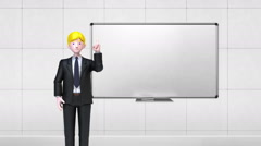 Businesoman character gesture pointing.front whiteboard in conference room.1 - stock footage