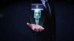 Businessman open palm, Scanning rotating semi transparency 3D robot body. Stock Footage