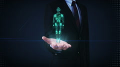 Businessman open palm, Rotating transparency 3D robot body, X-ray scan. Stock Footage