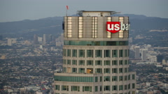 Aerial view at sunrise of US Bank building downtown Los Angeles Stock Footage