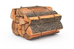 Bunch firewood stack chopped - stock illustration