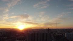 Sunset over the city Yakutsk Sakha Yakutiya Russia Stock Footage