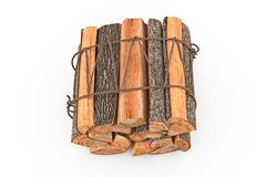 Bunch firewood stack chopped, top view - stock illustration