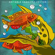 Colorful Aquarium Fishes Stock Illustration