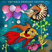 Colorful Aquarium Fishes - stock illustration