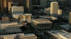 Aerial early morning view of Walt Disney Concert Hall Los Angeles Stock Footage