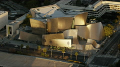 Aerial sunrise view of Walt Disney Concert Hall Los Angeles USA Stock Footage