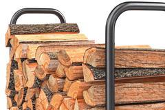 Firewood stack woodpile bark, close view - stock illustration