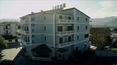 Blue Motel, Aerial drone video. N. About tourism, hospitality, vacation, travel Stock Footage