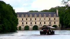 Chateau de Chenonceau, in the Loire valley with boat in foreground. Stock Footage