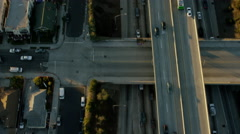 Aerial view of morning commuters using freeway system Los Angeles Stock Footage
