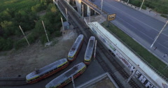 4K Aerial shot of city. Tram, bridge with cars, tunnel. Stock Footage