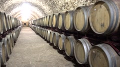 One third wine cellar with plenty of wine casks  - stock footage