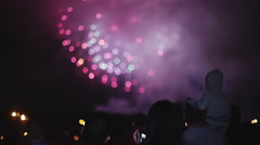 Unrecognizable people watching fireworks - stock footage