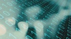Futuristic technology binary data hacker attack conception - stock footage