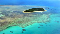 Aerial view of Green Island reef at the Great Barrier Reef Queensland Austral Stock Photos