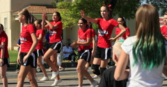 4th July Parade High School Cheer Team DCI 4K Stock Footage