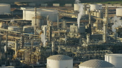 Aerial view of oil and gas refinery Los Angeles USA - stock footage